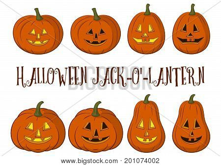 Holiday Halloween Symbols, Cartoons Pumpkins Jack O Lantern Set Isolated on White Background. Vector