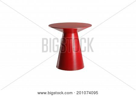 Red Wooden Design Round Table