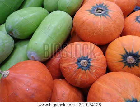 Pile of bright green winter melons and vivid orange color pumpkins