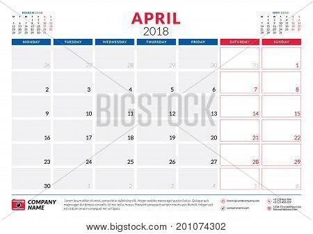 April 2018. Calendar Planner Design Template. Week Starts On Monday. Stationery Design