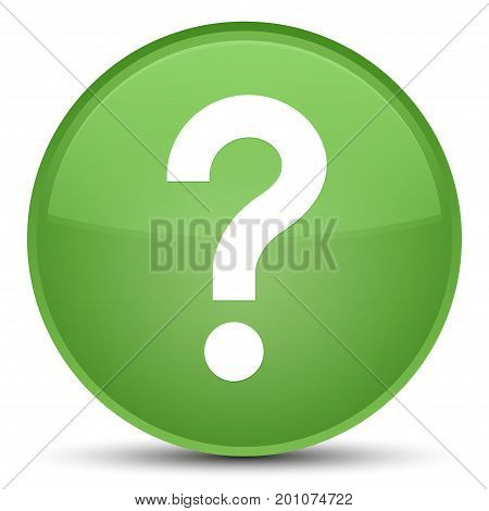 Question Mark Icon Special Soft Green Round Button