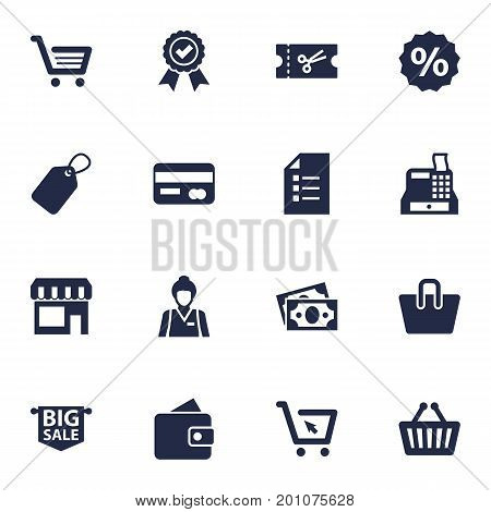 Collection Of Payment, Guarantee, Dollar And Other Elements.  Set Of 16 Magazine Icons Set.