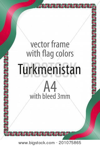 Frame And Border Of Ribbon With The Colors Of The Turkmenistan Flag