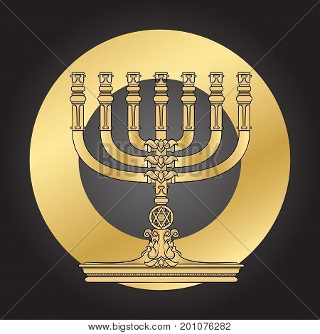 Jewish Menorah candlestick. Elegant greeting card for jewish holiday. Hanukkah golden menorah. Jewish Chandelier menorah. Vector illustration.