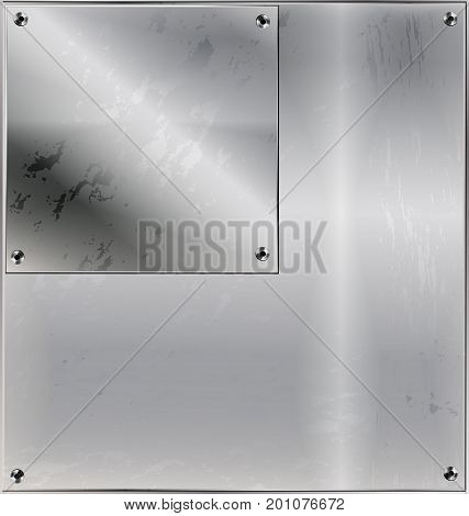 iron background metal stylized sheet with geometric figure square and holes
