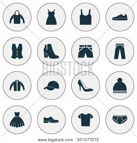 Clothes Icons Set. Collection Of Trilby, Beanie, Waistcoat And Other Elements