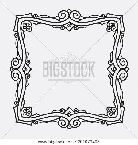 Vintage vector set retro frame cards. Floral royal engraving design labels advertising place for text. Flourishes Line calligraphic background.