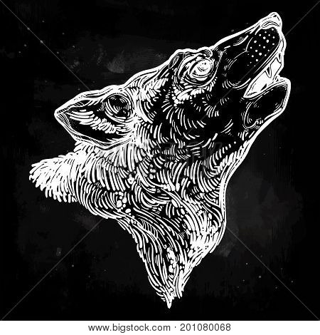Decocrative hand drawn lonely wolf howling at moon. Isolated vintage style vector illustration. Solitude, freedom. Tattoo, adventure, wildlife symbol. The great outdoors.