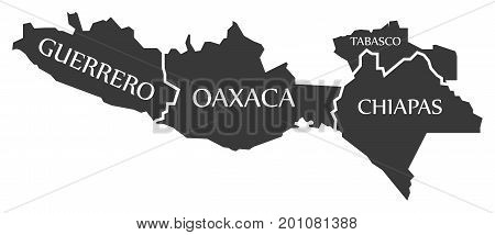 Guerrero - Oaxaca - Chiapas - Tabasco Map Mexico Illustration