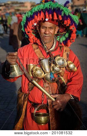 Water Seller In The Jemaa El-fnaa Square, Marrakesh, Morocco