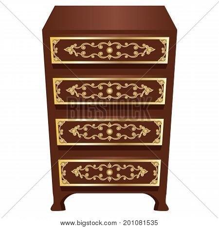 Decorative commode or cabinet o use in room or palace interior as scene element. Rich brown ornate with gold. Isolated object vector illustration