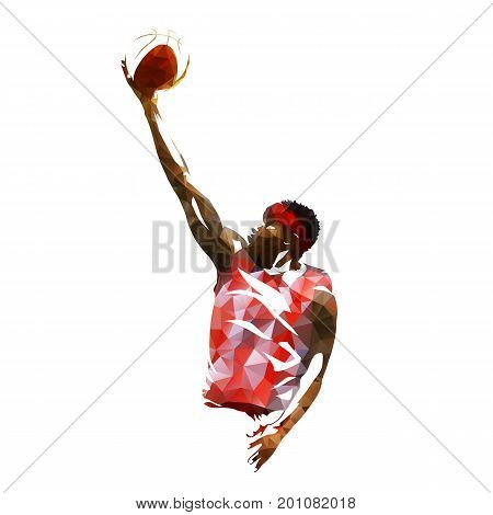 Basketball player isolated vector illustration geometric colorful silhouette