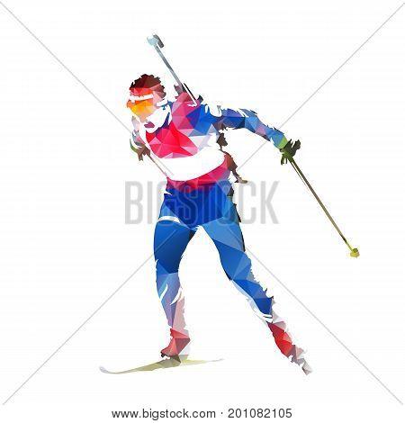 Biathlon racing, abstract colorful geometric skier silhouette. Winter sport