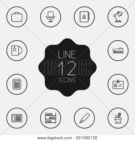 Collection Of Telephone, Bookshelf, Book And Other Elements.  Set Of 12 Bureau Outline Icons Set.