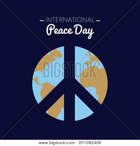International peace day with the Earth forming the peace symbol. Vector illustration