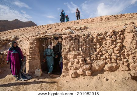 Nomad Family Living In The Cave, Nomad Valley, Atlas Mountains, Morocco