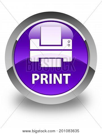 Print (printer Icon) Glossy Purple Round Button