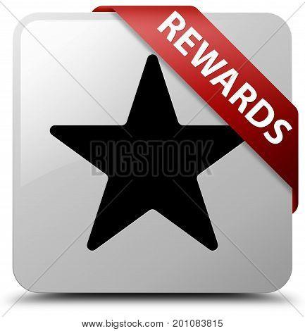 Rewards (star Icon) White Square Button Red Ribbon In Corner
