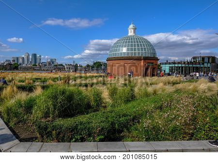 Greenwich London UK - August 10 2017: Greenwich near Cutty Sark and shows foot tunnel entrance. Taken on a bright summer day.