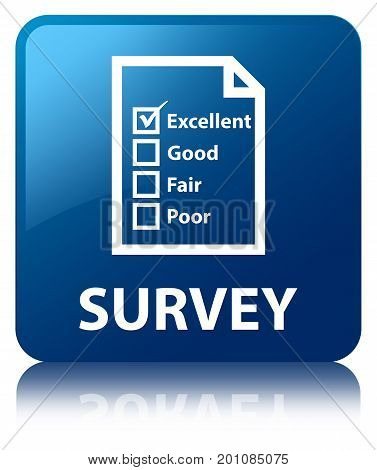 Survey (questionnaire Icon) Blue Square Button
