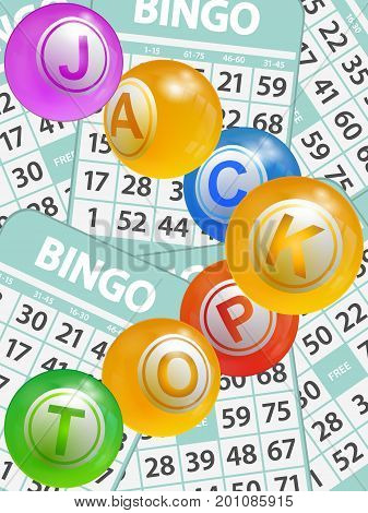 3D Illustration of Bingo Lottery Balls Composing The Word Jackpot Over Green Bingo Cards Portrait Background