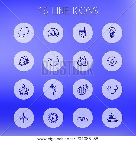 Collection Of Nature, Afforestation, Global Warming And Other Elements.  Set Of 16 Ecology Outline Icons Set.