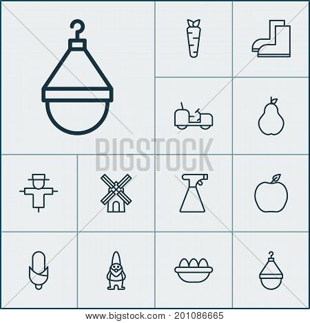 Farm Icons Set. Collection Of Ovum, Sprinkler, Agrimotor And Other Elements