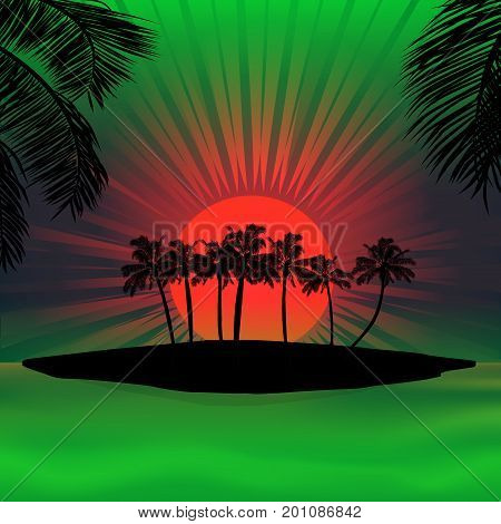 Silhouette of Tropical Island with Palm Trees Over Red and Green Sunset