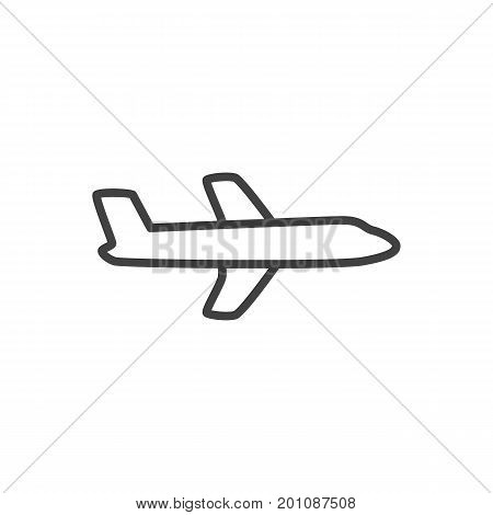 Vector Airplane Element In Trendy Style.  Isolated Plane Outline Symbol On Clean Background.