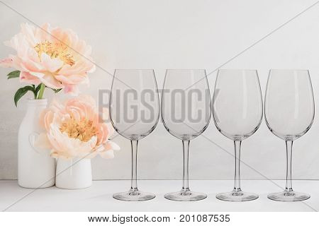 Floral Mockup - 4 Empty Wine Glasses