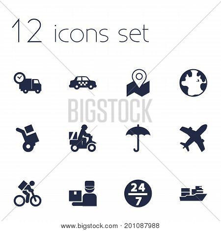 Collection Of Van, Service, Vessel And Other Elements.  Set Of 12 Shipment Icons Set.