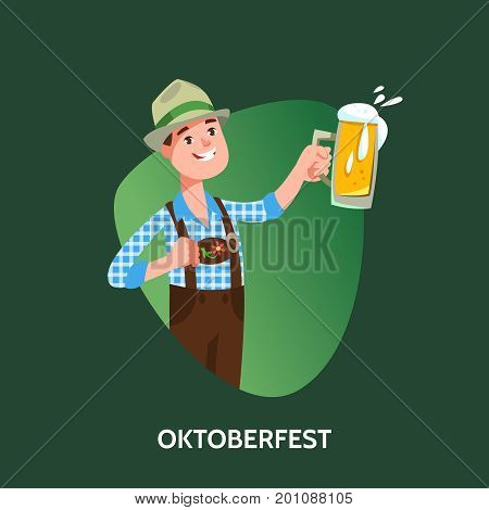 Vector illustration fun germany man in traditional costume with beer mug celebratory toast cartoon style. Oktoberfest beer festival