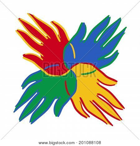 A brightly coloured hands symbol showing unity