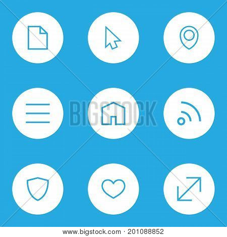 Interface Outline Icons Set. Collection Of File, Location, Cursor And Other Elements