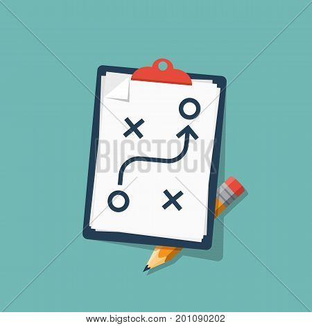 Planning strategy concept. Business tactic. Clipboard pencil. Vector illustration flat design. Isolated on background. Chart project analysis . Scheme of action on white sheet. Plan to achieve goal.