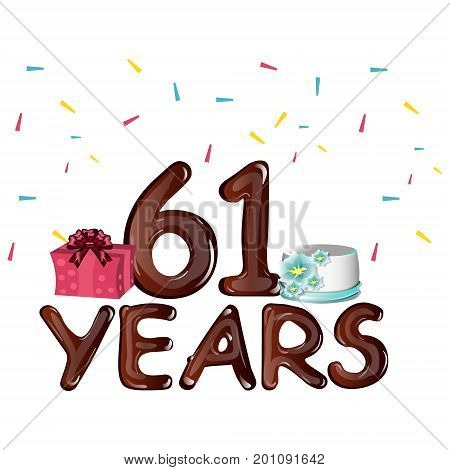 Happy Birthday sixty one 61 years. Vector illustration