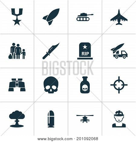 Army Icons Set. Collection Of Rip, Ordnance, Atom And Other Elements