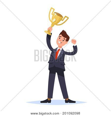 Successful businessman celebrating success. Happy winner businessperson holding in the raised hand of the winner cup. Vector illustration flat style