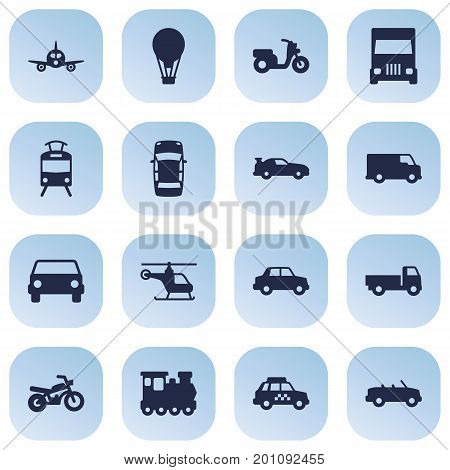 Collection Of Truck, Aircraft, Streetcar And Other Elements.  Set Of 16 Transport Icons Set.