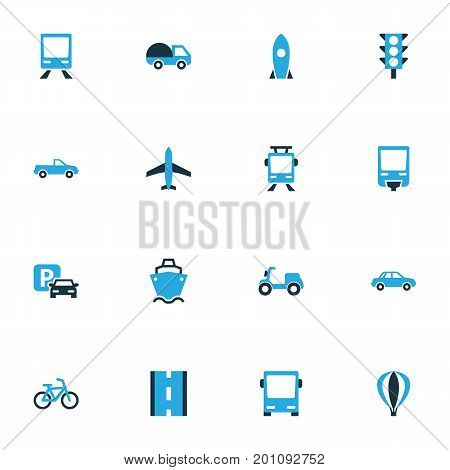 Transport Colorful Icons Set. Collection Of Tanker, Parking, Autobus And Other Elements