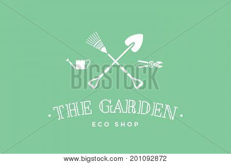 Logo of eco shop with symbol of gardening and organic icons, text The Garden. Logo template for natural eco business - farm shop, eco market or design - label, banner, sticker. Vector Illustration