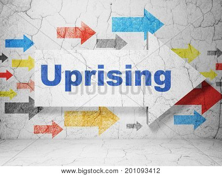 Politics concept:  arrow with Uprising on grunge textured concrete wall background, 3D rendering