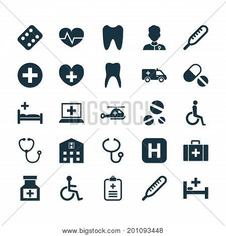 Antibiotic Icons Set. Collection Of First-Aid, Polyclinic, Heal And Other Elements