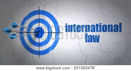 Success politics concept: arrows hitting the center of target, Blue International Law on wall background, 3D rendering