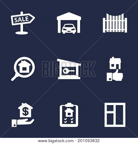 Collection Of Hypothec, Mortgage, Like And Other Elements.  Set Of 9 Real Icons Set.