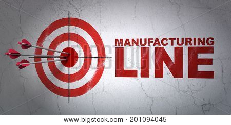 Success Industry concept: arrows hitting the center of target, Red Manufacturing Line on wall background, 3D rendering