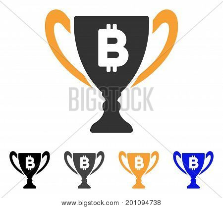 Bitcoin Award Cup icon. Vector illustration style is flat iconic symbol with black, grey, orange, blue color variants. Designed for web and software interfaces.