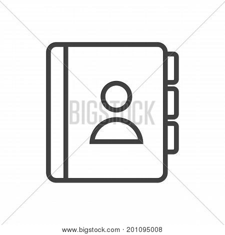 Isolated Address Book Outline Symbol On Clean Background