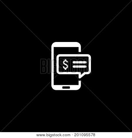 SMS Notification Icon. Isolated Illustration. App Symbol or UI element. Mobile Phone with Popup Message.
