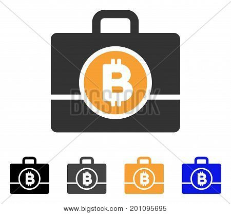Bitcoin Case icon. Vector illustration style is flat iconic symbol with black, grey, orange, blue color variants. Designed for web and software interfaces.